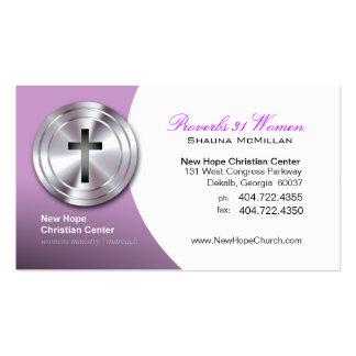 Ministro/pastor cristianos cruzados de plata del tarjetas de visita