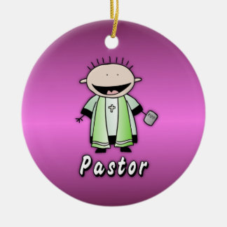 Ministro religioso del pastor del empleo adorno navideño redondo de cerámica