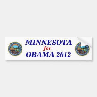 Minnesota para el pegatina 2012 de Obama Pegatina Para Coche