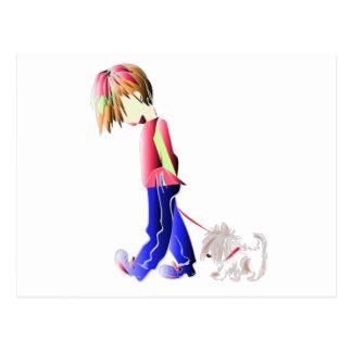Minnie-yo arte digital del perro del muchacho que postal