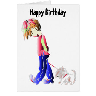 Minnie-yo arte digital del perro del muchacho que tarjeta de felicitación