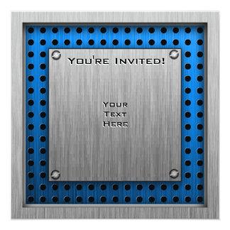 Mirada cepillada del metal; Bola del azul 8 Invitación 13,3 Cm X 13,3cm