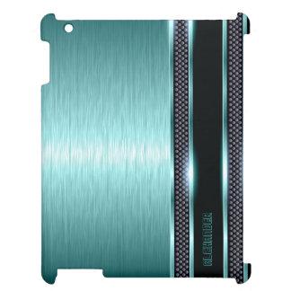 Mirada de aluminio cepillada metálica azulverde