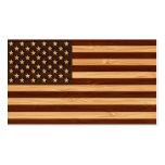 Mirada de bambú y bandera americana grabada de los tarjeta de visita