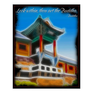 Mirada de Buda dentro del poster de la cita
