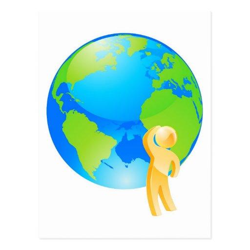 Mirada de concepto de pensamiento del globo postal