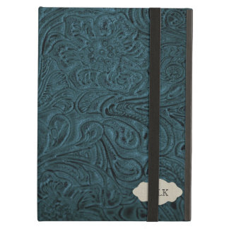 Mirada de cuero equipada azul verde azulado funda para iPad air