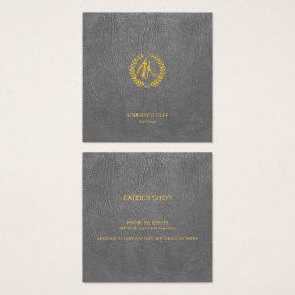 Mirada de cuero gris oscuro del oro de lujo del tarjeta de visita cuadrada