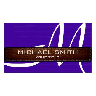 Mirada de cuero moderna violeta azul del monograma tarjetas de visita