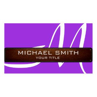 Mirada de cuero moderna violeta del monograma tarjetas de visita