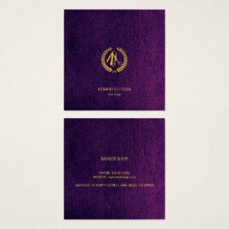 Mirada de cuero púrpura del oro de lujo del tarjeta de visita cuadrada