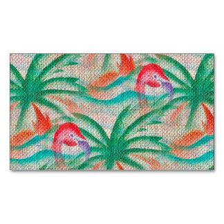 Mirada de la arpillera de la palmera del flamenco tarjetas de visita magnéticas (paquete de 25)