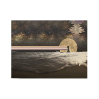 Mirada de la resaca de la Luna Llena hacia fuera Póster De Madera