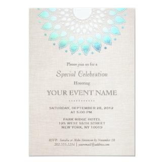 Mirada de lino beige de las azules turquesas invitación 12,7 x 17,8 cm