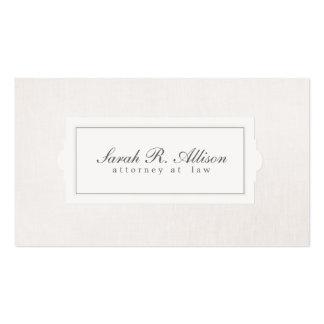 Mirada de lino beige del abogado del estilo elegan tarjeta de visita