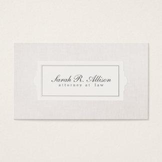 Mirada de lino beige del abogado del estilo tarjeta de negocios