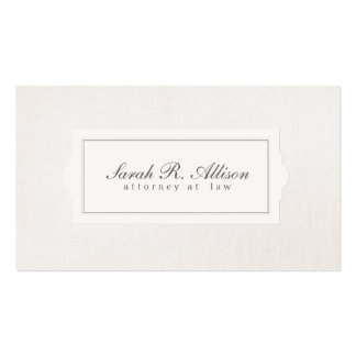 Mirada de lino beige del abogado del estilo tarjetas de visita
