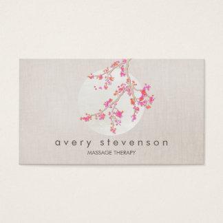 Mirada de lino floral de la flor de cerezo rosada tarjeta de negocios