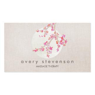 Mirada de lino floral de la flor de cerezo rosada tarjetas de visita