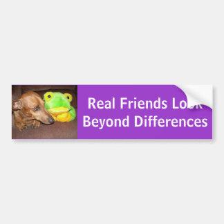 Mirada de los amigos reales más allá de diferencia pegatina para coche