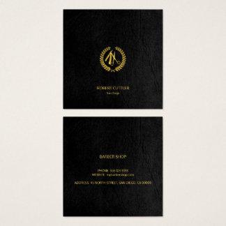 Mirada de lujo del cuero del negro del oro del tarjeta de visita cuadrada