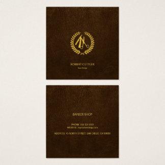 Mirada de lujo del cuero marrón oscuro del oro del tarjeta de visita cuadrada
