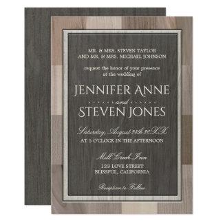 Mirada de madera embutida invitación del boda
