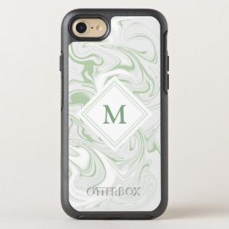 Mirada de mármol sabia y blanca con el monograma funda OtterBox symmetry para iPhone 8/7