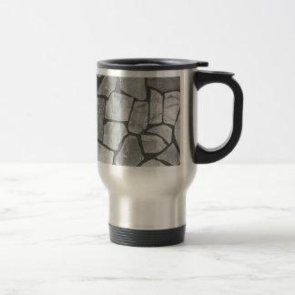 Mirada de pavimentación de piedra gris decorativa taza de viaje