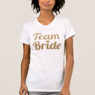 Mirada del brillo del oro de la novia del equipo camisetas