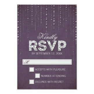 Mirada del brillo que casa las tarjetas de RSVP Invitación 8,9 X 12,7 Cm