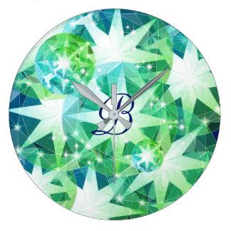 Mirada diamante de imitación de Bling del compás Reloj Redondo Grande