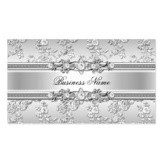 Mirada floral grabada en relieve plata con clase e tarjetas de visita