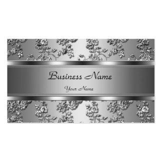 Mirada floral grabada en relieve plata con clase plantilla de tarjeta personal