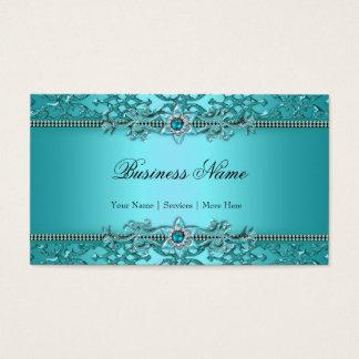Mirada grabada en relieve damasco azul elegante 2 tarjeta de negocios