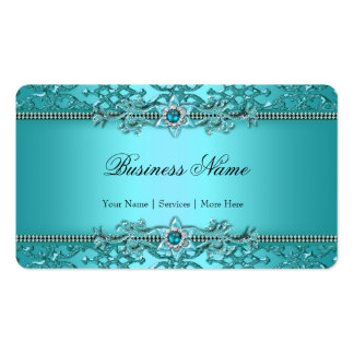 Mirada grabada en relieve damasco azul elegante 2 tarjetas de visita
