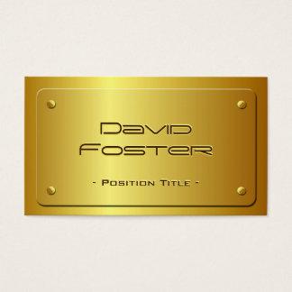 Mirada grabada en relieve de la placa de oro - tarjeta de negocios