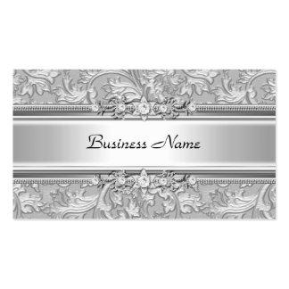Mirada grabada en relieve plata con clase elegante tarjetas de visita