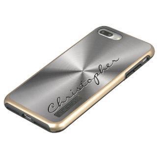Mirada radial metálica personalizada del acero funda DualPro shine de incipio para iPhone 7 plus
