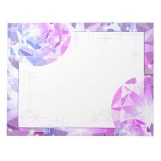 Mirada rosada azul del diamante artificial del bloc de notas