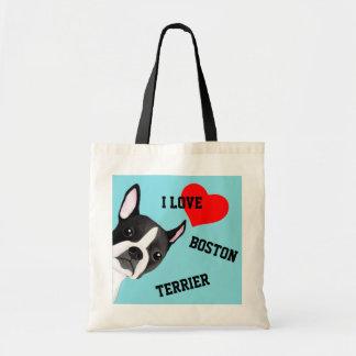 Mirar a escondidas Boston Terrier ilustró la bolsa