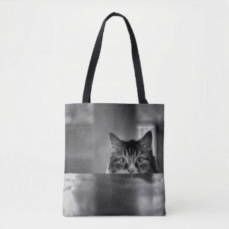 Mirar a escondidas la bolsa de asas del gato