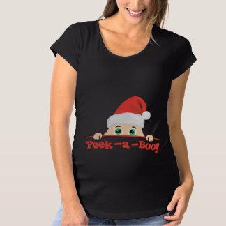 Mire a escondidas el navidad de un abucheo camiseta de premamá
