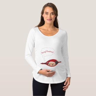 Mire a escondidas una camiseta larga de maternidad