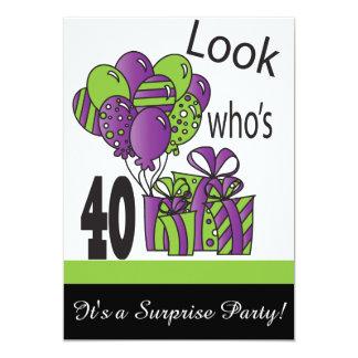Mire quién es 40.o cumpleaños del 40% el pipe% invitación 12,7 x 17,8 cm