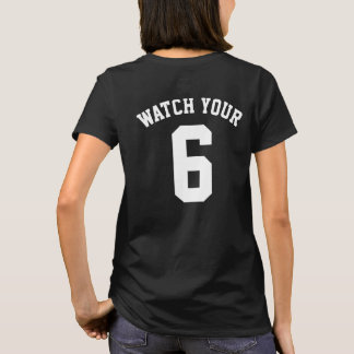 Mire su seis camisetas traseras de la impresión