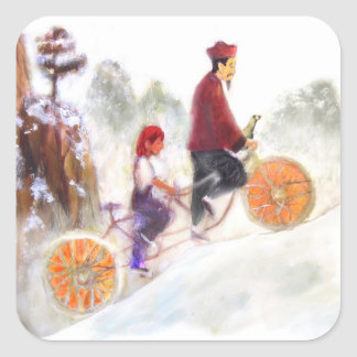MIRIAM - Liu Xiang's tandem cycle Pegatina Cuadrada