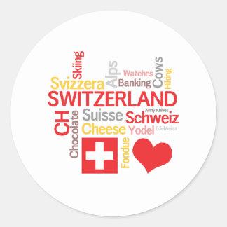 Mis cosas suizas preferidas divertidas pegatina redonda