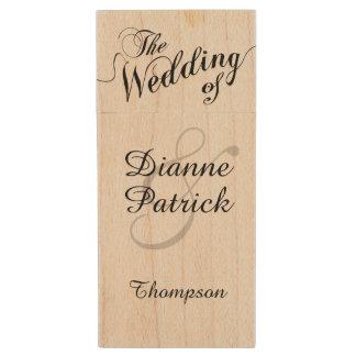 mis fotos del boda, monograma memoria USB de madera