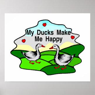 Mis patos me hacen feliz póster